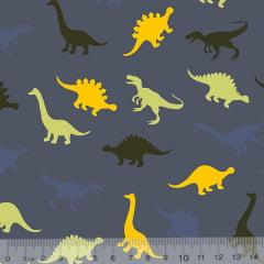 Tecido Tricoline Dinossauros Cores - Fundo Azul Antigo - 100% Algodão - Largura 1,50m