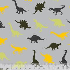 Tecido Tricoline Dinossauros Cores - Fundo Cinza - 100% Algodão - Largura 1,50m