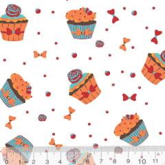 Tecido Tricoline Doce Mini Cupcake - Fundo Branco