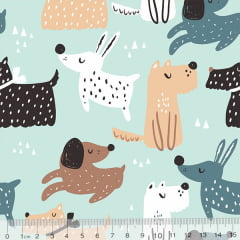 Tecido Tricoline Dog Cute - Verde - 100% Algodão - Largura 1,50m