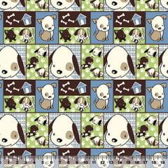 Tecido Tricoline Dog Melhor Amigo Patchwork Composê - Verde