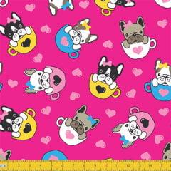 Tecido Tricoline Dogs e Xicaras - Rosa Pink - 100% Algodão - Largura: 1,50m