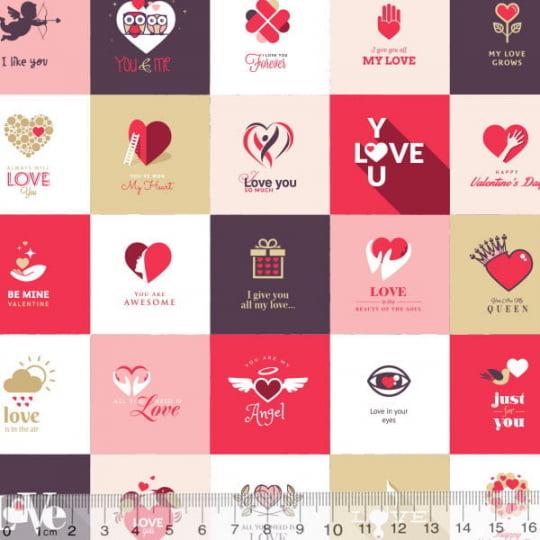 Tecido Tricoline Especial All You Need Is Love - 100% Algodão - Largura 1,50m