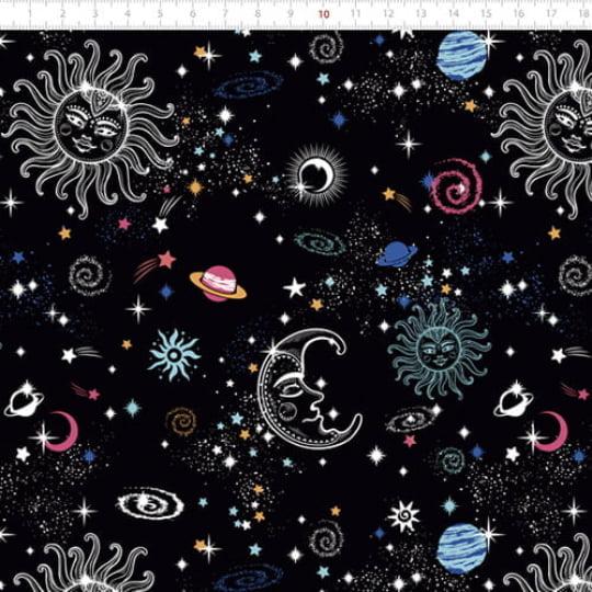 Tecido Tricoline Especial Astrologia - 100% Algodão - Largura 1,50m