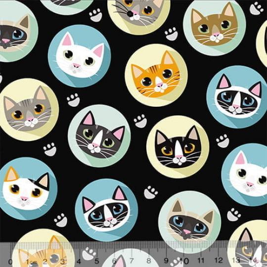 Tecido Tricoline Especial Cats Bottons - Fundo Preto