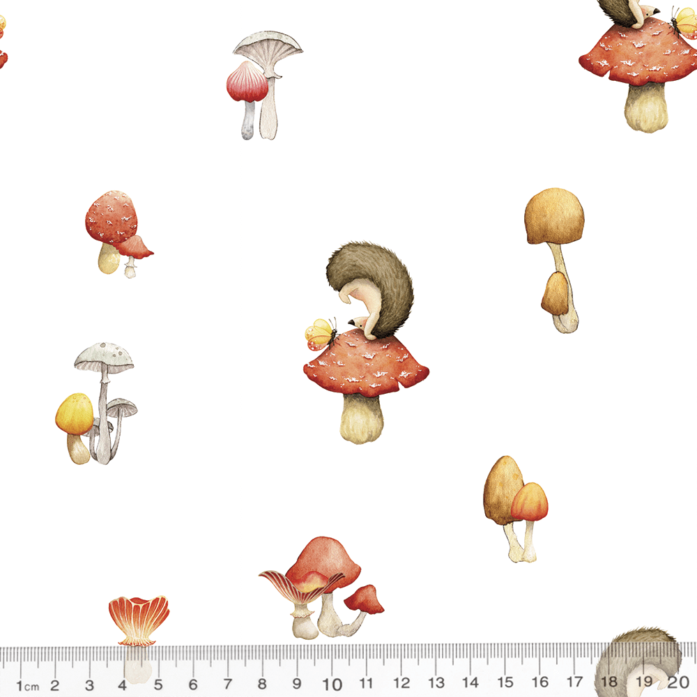 Tecido Tricoline Especial Coleção Caminhos da Floresta - Cogumelos - 100% Algodão - Largura 1,50m