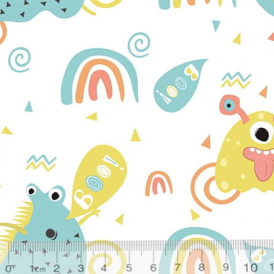Tecido Tricoline Especial Coleção Monster Friends - Diversão Boo - Fundo Branco - 100% Algodão - Largura 1,50m
