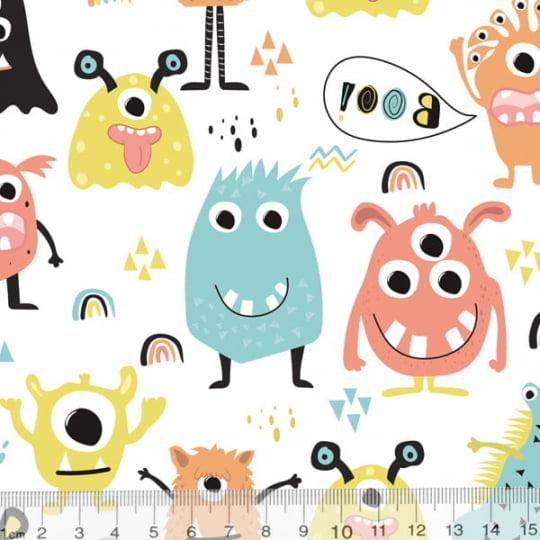 Tecido Tricoline Especial Coleção Monster Friends - Festa Boo - 100% Algodão - Largura 1,50m