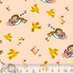 Tecido Tricoline Especial Encanto - Adormecida - Design Davi Sombra - 100% Algodão - Largura 1,50m