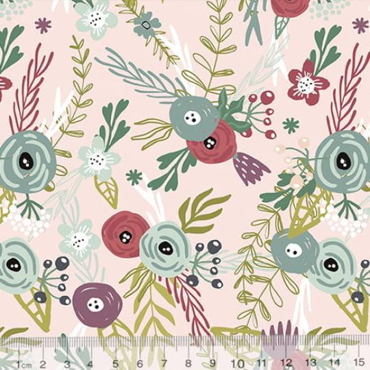 Tecido Tricoline Especial Floral Twilight - Fundo Claro - 100% Algodão - Largura 1,50m