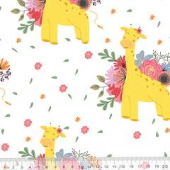 Tecido Tricoline Especial Flower Spring Girafa - 100% Algodão - Largura 1,50m