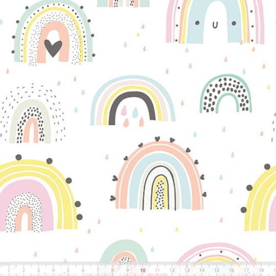 Tecido Tricoline Especial Happy Rainbow - 100% Algodão - Largura 1,50m