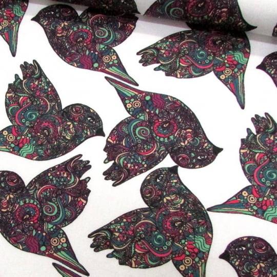 Tecido Tricoline Especial Pássaros Maori - Colorido - 100% Algodão - Largura 1,50m
