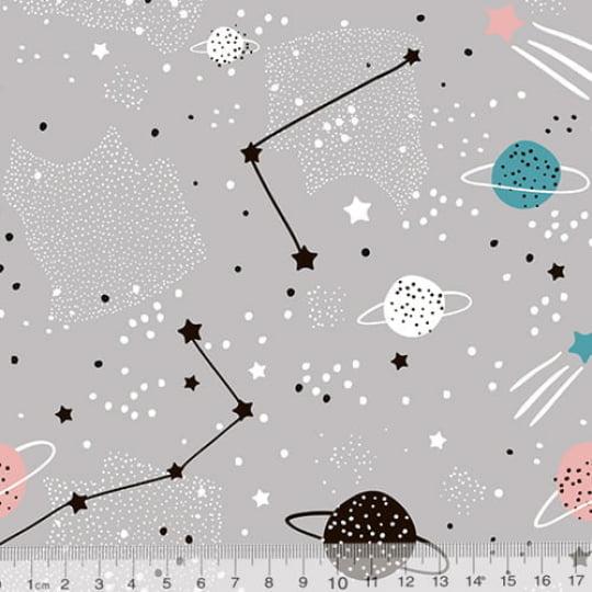 Tecido Tricoline Especial Planetas e Constelações - 100% Algodão - Largura 1,50m