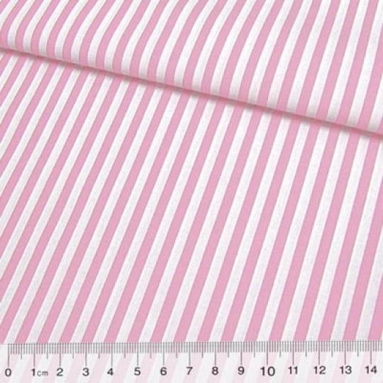 Tecido Tricoline Fio-Tinto Listras G - Rosa Claro - 100% Algodão - Largura 1,50m