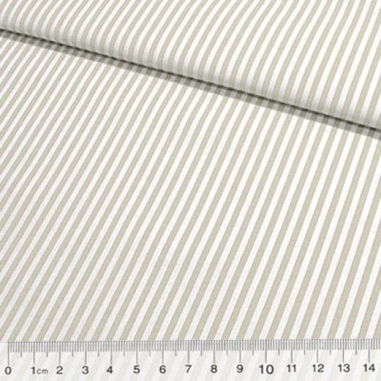 Tecido Tricoline Fio-Tinto Listras M - Bege - 100% Algodão - Largura 1,50m