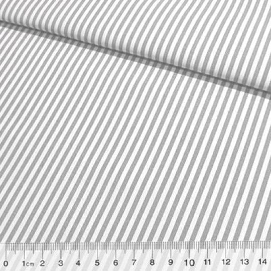 Tecido Tricoline Fio-Tinto Listras M - Cinza - 100% Algodão - Largura 1,50m