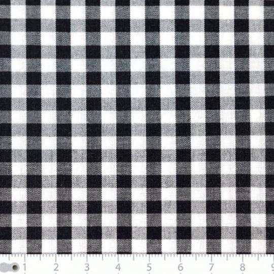 Tecido Tricoline Fio-Tinto Vichy Xadrez G - Preto - 100% Algodão - Largura 1,50m