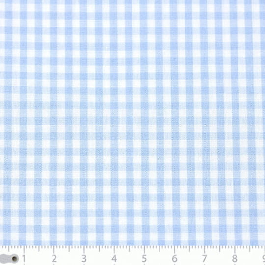 Tecido Tricoline Fio-Tinto Vichy Xadrez M - Azul Claro - 100% Algodão - Largura 1,50m