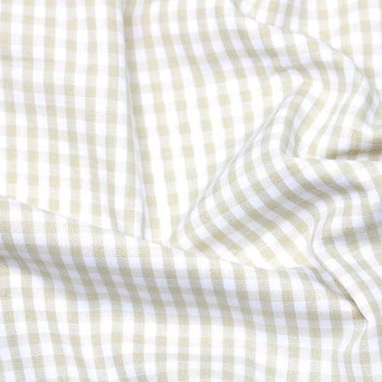 Tecido Tricoline Fio-Tinto Vichy Xadrez M - Bege - 100% Algodão - Largura 1,50m