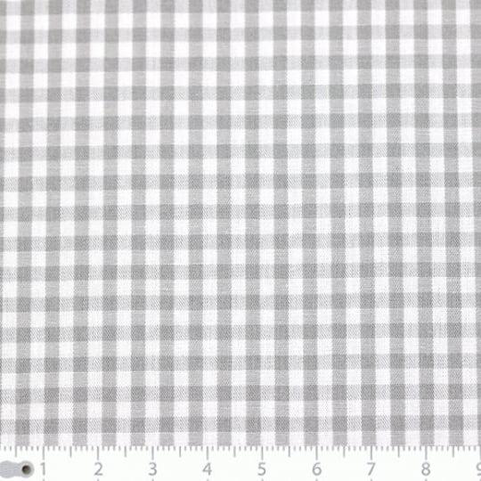 Tecido Tricoline Fio-Tinto Vichy Xadrez M - Cinza - 100% Algodão - Largura 1,50m