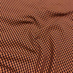 Tecido Tricoline Fio-Tinto Vichy Xadrez M Dual Color - Laranja Sunset - 100% Algodão - Largura 1,50m