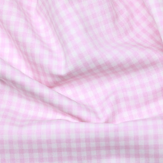 Tecido Tricoline Fio-Tinto Vichy Xadrez M - Rosa Claro - 100% Algodão - Largura 1,50m