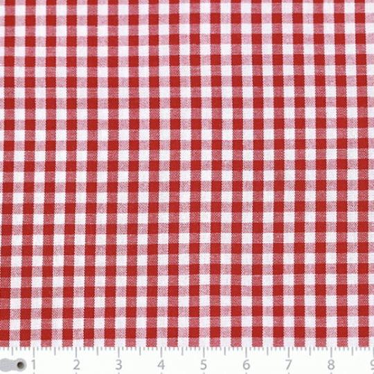 Tecido Tricoline Fio-Tinto Vichy Xadrez M - Vermelho - 100% Algodão - Largura 1,50m