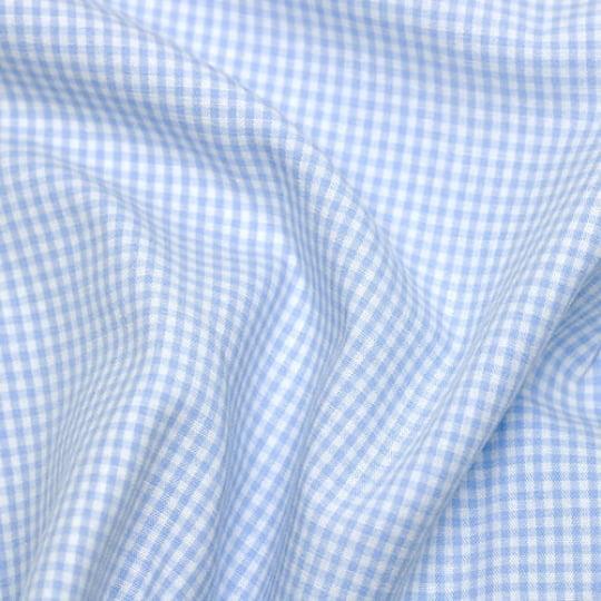 Tecido Tricoline Fio-Tinto Vichy Xadrez P - Azul Claro - 100% Algodão - Largura 1,50m