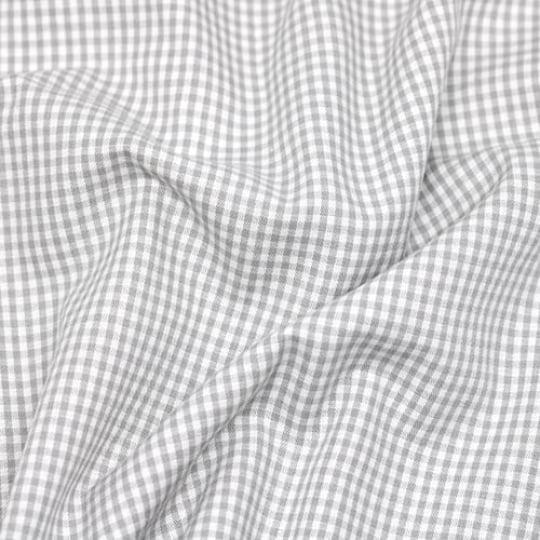Tecido Tricoline Fio-Tinto Vichy Xadrez P - Cinza - 100% Algodão - Largura 1,50m