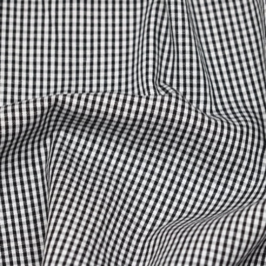 Tecido Tricoline Fio-Tinto Vichy Xadrez P - Preto - 100% Algodão - Largura 1,50m