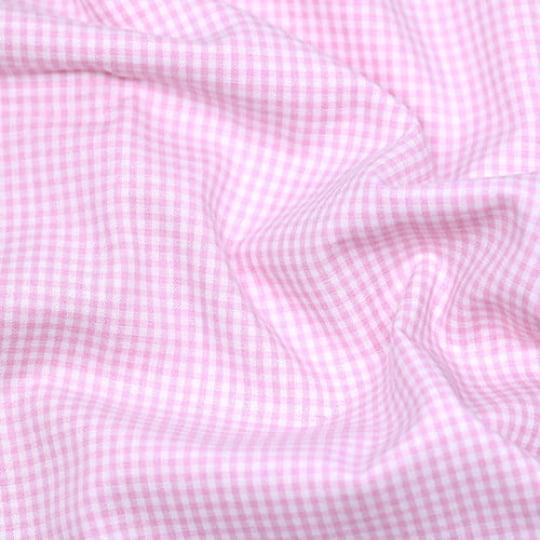 Tecido Tricoline Fio-Tinto Vichy Xadrez P - Rosa Claro - 100% Algodão - Largura 1,50m