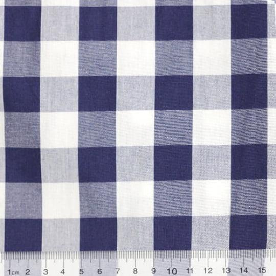 Tecido Tricoline Fio-Tinto Vichy Xadrez XG - Azul Marinho - 100% Algodão - Largura 1,50m