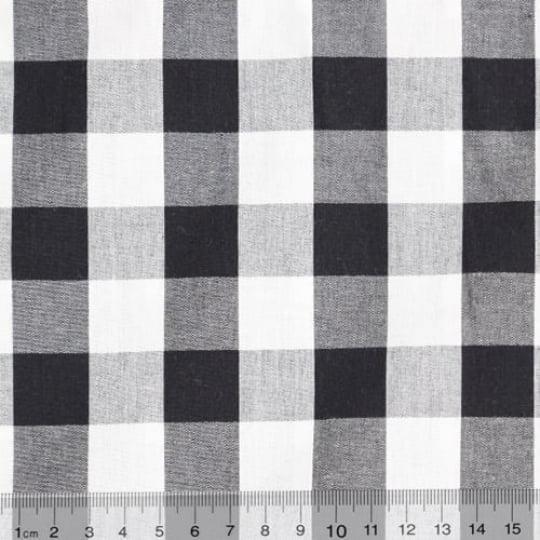 Tecido Tricoline Fio-Tinto Vichy Xadrez XG - Preto - 100% Algodão - Largura 1,50m