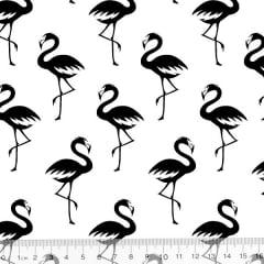 Tecido Tricoline Flamingos Elegância - Preto e Branco