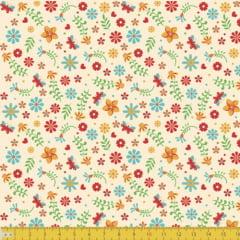 Tecido Tricoline Floral Alegra - Fundo Bege - 100% Algodão - Largura: 1,50m