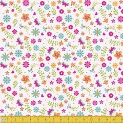 Tecido Tricoline Floral Alegra - Fundo Rosa - 100% Algodão - Largura: 1,50m