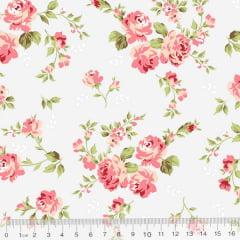 Tecido Tricoline Floral Delicacy - Gelo - 100% Algodão - Largura 1,50m