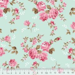 Tecido Tricoline Floral Delicacy - Turquesa - 100% Algodão - Largura 1,50m