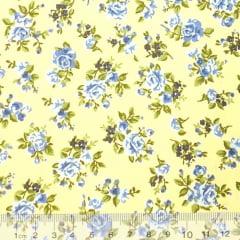 Tecido Tricoline Floral Desert - Amarelo - 100% Algodão - Largura 1,50m
