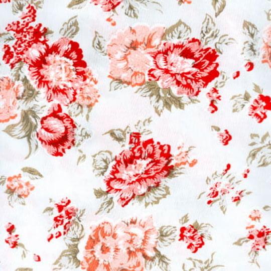 Tecido Tricoline Floral Electra - Vermelho - 100% Algodão - Largura 1,50m
