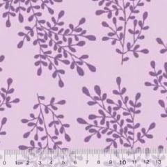 Tecido Tricoline Floral Floramos - Lilás Tons - 100% Algodão - Largura 1,50m