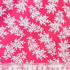 Tecido Tricoline Floral Floramos - Rosa Pink - 100% Algodão - Largura 1,50m