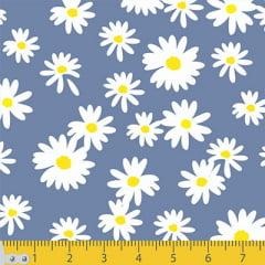 Tecido Tricoline Coleção Floral Flower White - Fundo Azul Antigo - 100% Algodão - Largura 1,50m