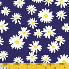 Tecido Tricoline Coleção Floral Flower White - Fundo Azul Marinho - 100% Algodão - Largura 1,50m