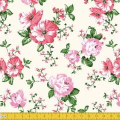 Tecido Tricoline Floral Gentileza - Bege - 100% Algodão - Largura: 1,50m