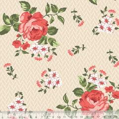 Tecido Tricoline Floral Jardim Bricks - Bege - 100% Algodão - Largura 1,50m