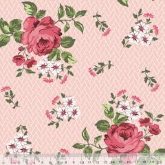 Tecido Tricoline Floral Jardim Bricks - Rosa - 100% Algodão - Largura 1,50m