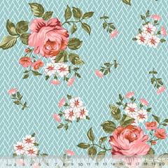 Tecido Tricoline Floral Jardim Bricks - Turquesa - 100% Algodão - Largura 1,50m