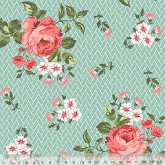 Tecido Tricoline Floral Jardim Bricks - Verde - 100% Algodão - Largura 1,50m